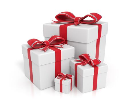 sizes: 3d rendered white gift boxes with red ribbons - Isolated Stock Photo