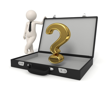 questions answers: 3d business man standing near a gold Question mark in briefcase Stock Photo