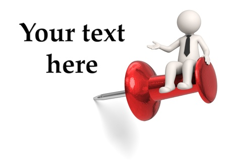 3d rendered white business character sitting on push pin and presenting the space of your text - Isolated Фото со стока