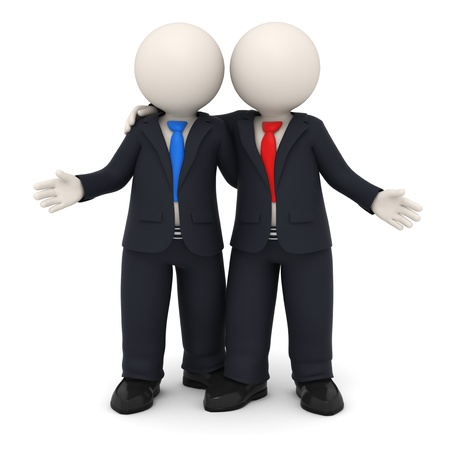 joined hands: 3d rendered business partners in black uniform embracing each other - Image on white background with soft shadows Stock Photo