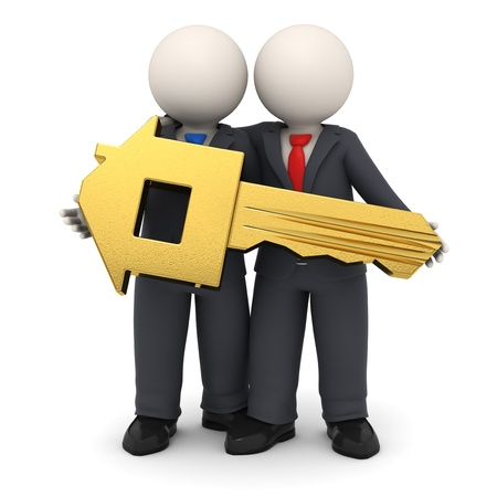 3d rendered business partners in black suit holding a gold house key in their hands - Isolated photo