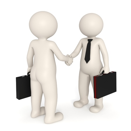humanoid: 3d business men making a deal and shaking hands - Isolated