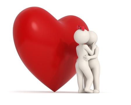 innamorati che si baciano: Gli amanti 3d baciano dietro un grande cuore rosso - isolati Archivio Fotografico