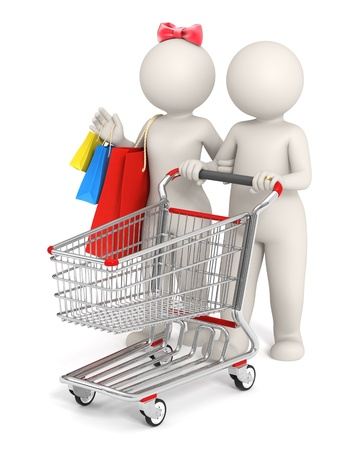3d rendered cute conceptual white couple goes shopping - Isolated photo