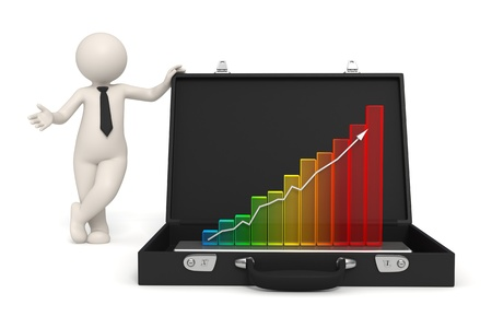 humanoid: 3d man presents business growth in a 3d graph placed in his briefcase - Isolated
