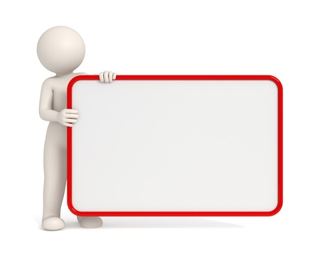 big figure: 3d man holding an empty board with Red frame - Copyspace - Isolated
