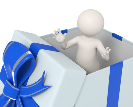 3d man standing with open arms in a blue gift box photo