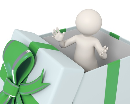 humanoid: 3d man standing with open arms in a green gift box
