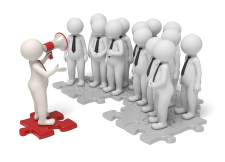 announce: 3d leader making an announcement with a red megaphone to his team - Isolated - Communication concept