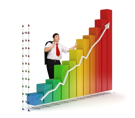 strong growth: Smiling business man standing near a colored 3d rendered photo-realistic financial graph - Isolated - Financial growth concept