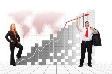 Business man holding graph arrow high up - 3d image and photo combination photo
