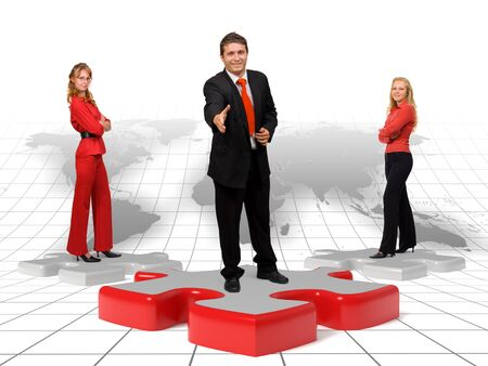 Business team standing on puzzle pieces in front of an earth background Stock Photo - 10865401