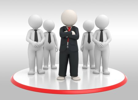 the proud: 3d rendered successful business team and their leader posing Stock Photo