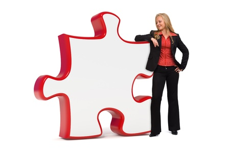 Business solutions puzzle board and a young business woman