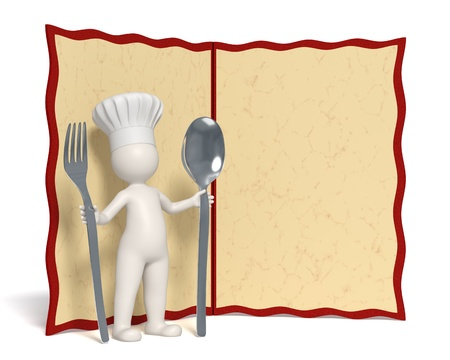 restaurant staff: 3d chef standing in front of an empty menu board with copyspace - Isolated