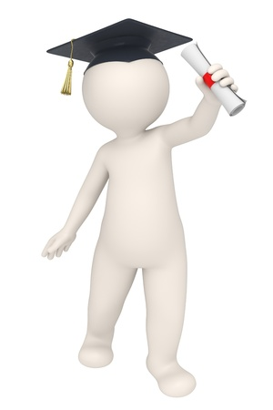 adult education: 3d rendered guy happy for his graduation diploma - Isolated