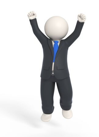 businessman jumping: Vito jumping high in a business suit - Success concept - Isolated