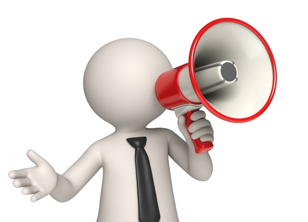 Virtual Vito speaking through a red megaphone - Isolated Stock Photo - 10865396