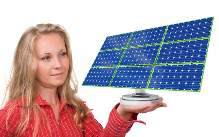 solar equipment: Young woman holding a solar panel in her hand - Isolated