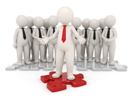 focus group: Successful business leader standing on a red puzzle piece in front of his team - Isolated