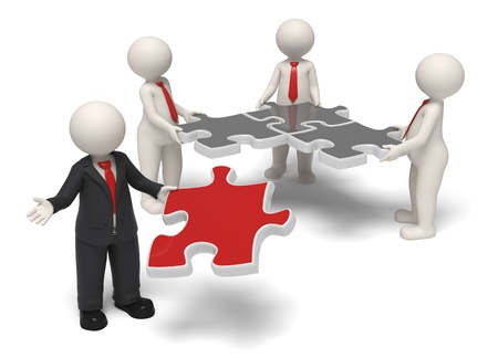 3d rendered successful business team and their boss finishing the puzzle with a red one - Solutions and success concept - Isolated Standard-Bild