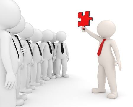 leaders: 3d team leader showing a red puzzle piece to his people - Isolated - Solutions concept