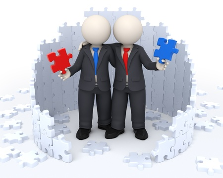 3d rendered busienss people holding red and blue puzzle pieces in their hands while embracing each other - Successful solutions concept photo