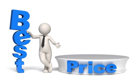 3d businessman offering best price near a blue empty podium - Isolated photo