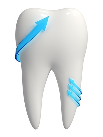 3d rendered photo-realistic white tooth with blue semi-transparent arrows pointing upward - Isolated icon on white background