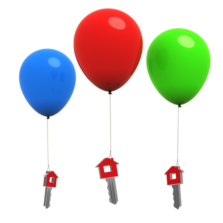 3d rendered colorful balloons carrying house keys - Isolated photo