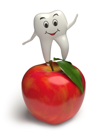 Photorealistic 3d render of a white smiling tooth jumping on a highly detailed apple with leaves