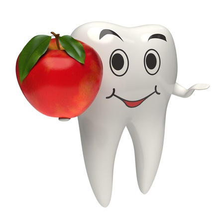 dental symbol: 3d rendered white helthy tooth giving a red apple to the viewer - Isolated photo-realistic render