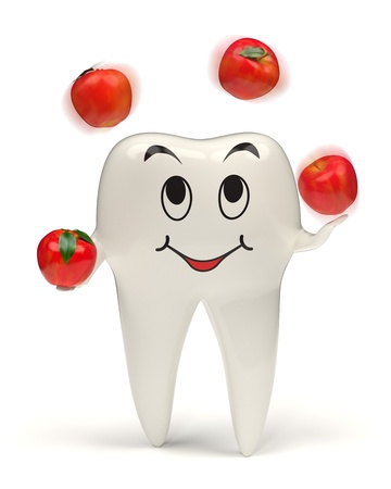 3d rendered happy white tooth juggling with red apples - Image on white background with soft shadows photo