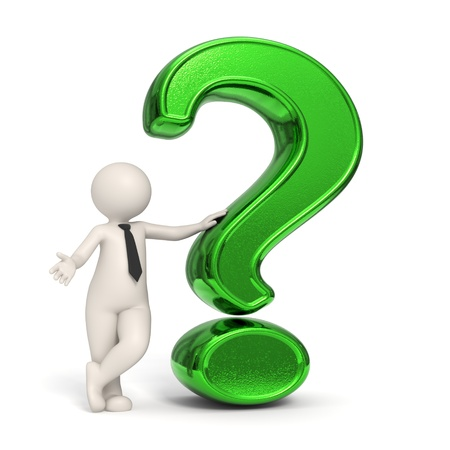 asking question: 3d business man standing near a green question mark - Isolated