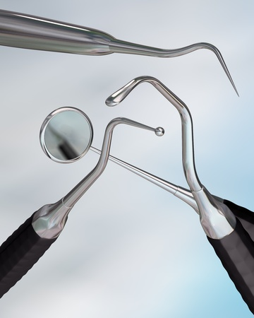 dental hygiene: Illustration of 3d rendered dental instruments Stock Photo