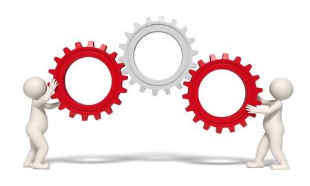 rueda dentada: 3D hombres que trabajan con engranajes que representa el trabajo en equipo y el �xito - aislados Foto de archivo