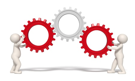 3d men working with gears representing teamwork and success - Isolated