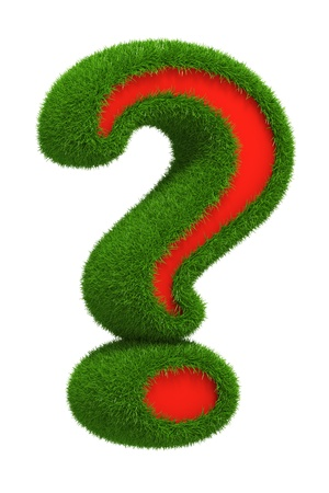 education help: Photo-realistic render of grass coated question mark
