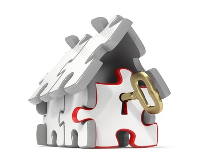 key holes: 3d rendered puzzle house with a gold key in the door - Isolated