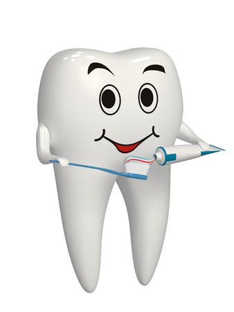 Tooth putting toothpaste on the toothbrush