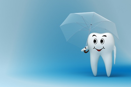 Smiling tooth under umrella