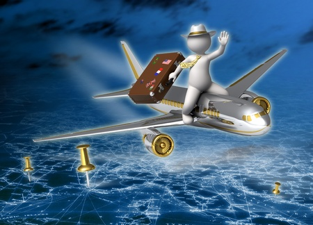 Holidays - 3d guy flying on a plane at night, carrying his suitcase - Tourism concept photo