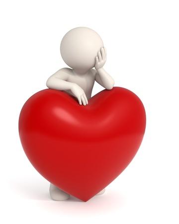 melancholijny: Melancholijny facet 3d marzy o miłości - Pojedynczo Zdjęcie Seryjne