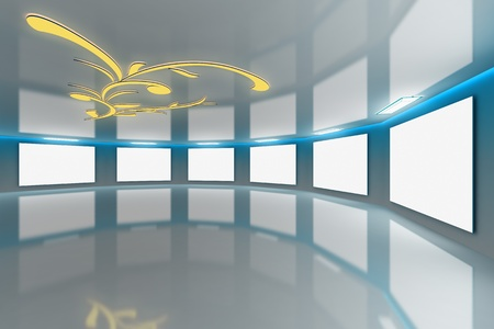 studio lighting: Modern virtual blue-aqua gallery with floral design on ceiling Stock Photo