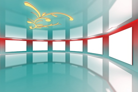 Modern virtual red-aqua gallery with floral design on ceiling photo