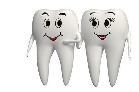 oral hygiene: Mr and Mrs Tooth walking together Stock Photo