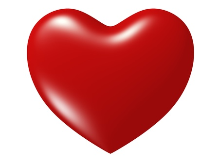 3d rendered red heart isolated on white background Standard-Bild