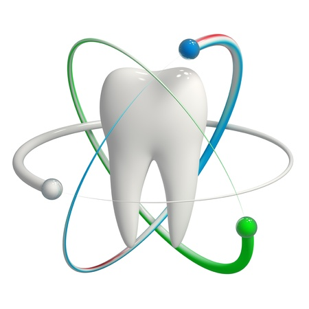 dental health: Herbal and fluoride protection icon of a tooth