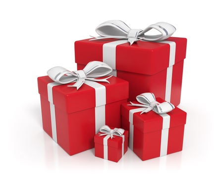 3d rendered red gift boxes with white ribbons - Isolated
