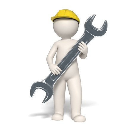 3d guy holding a spanner in his hands representing a service symbol - Isolated